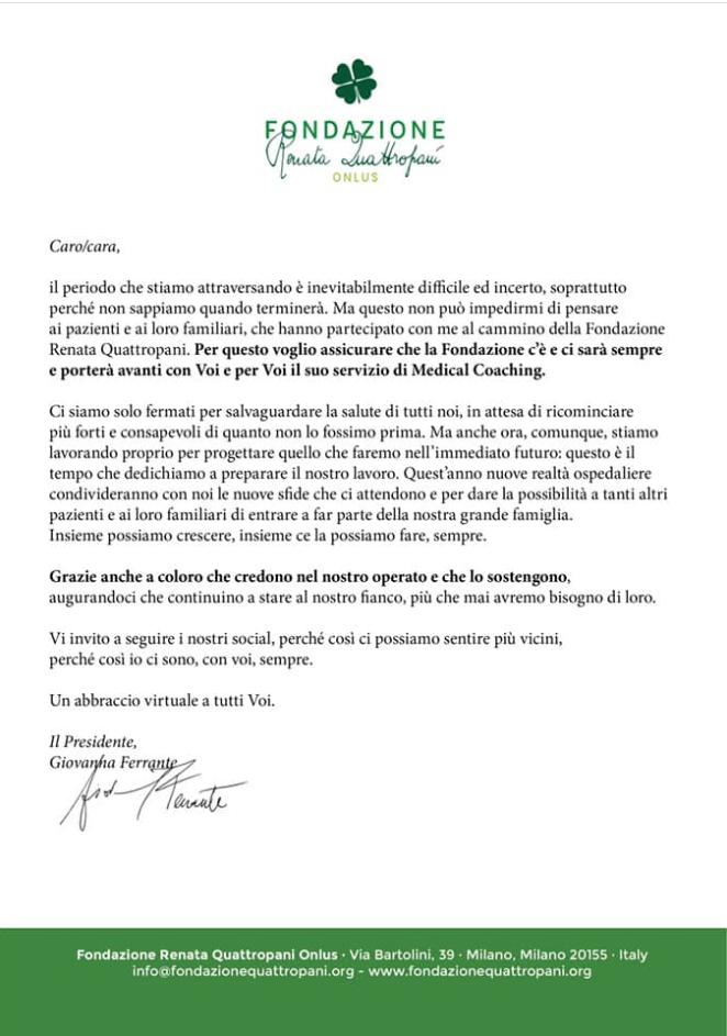 Lettera del Presidente Giovanna Ferrante